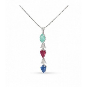Tutti Frutti Pendant 18kt White gold set with brilliants and carved emerald, ruby and sapphire
