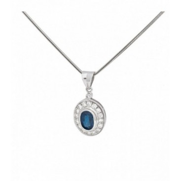 Pendant 18KT White gold set with brilliants and blue sapphire