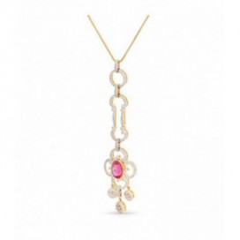 Pendant 14kt gold set with brilliants and pink tourmaline