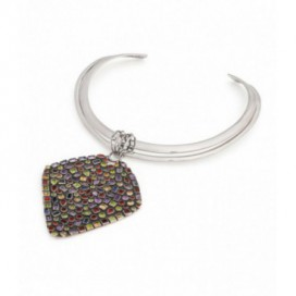 Silver spang with pendant. Pendant is set with garnets, amethysts, citrines and iolites.
