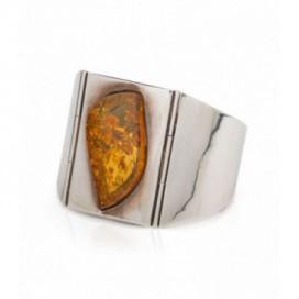 Silver bracelet set with amber