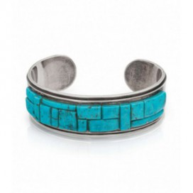 Solid silver bracelet set with turquoise