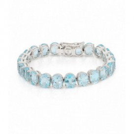 Silver bracelet set with aquamarines
