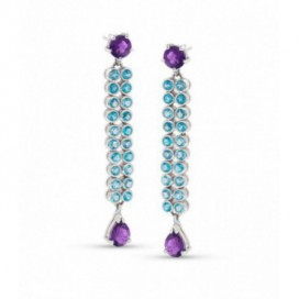 Silver ear hangers set with amethysts and blue topaz
