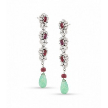 Silver ear hangers set with crystals, rubies and aventurine