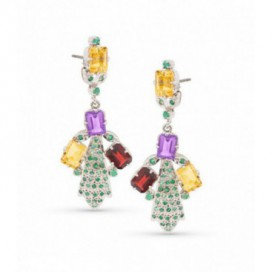 Silver ear hangers set with citrine, garnets, amethysts and emeralds