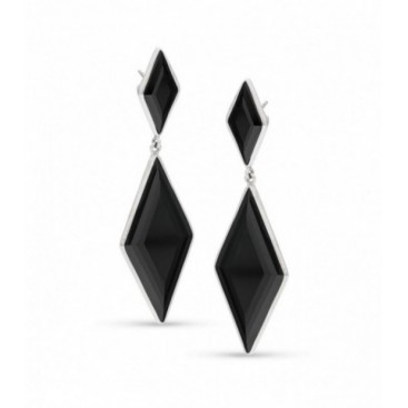 Silver ear hangers set with onyx