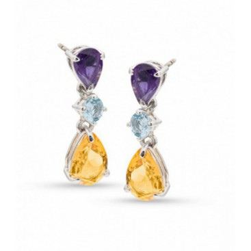 Silver ear hangers set with amethysts, aquamarines and citrine