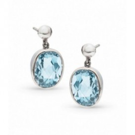 Silver ear hangers set with blue topaz