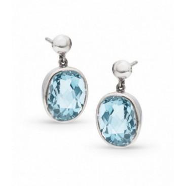 Silver ear hangers set with blue topaz