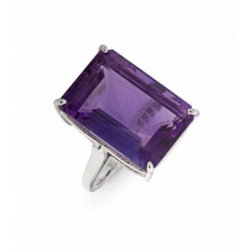 Silver ring set with amethyst