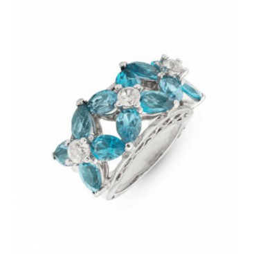 Silver ring set with blue topaz and crystals