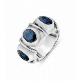 Silver ring set with blue sapphires