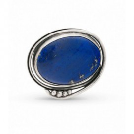 Silver brooch set with lapis lazuli