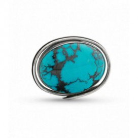 Silver brooch set with turquoise