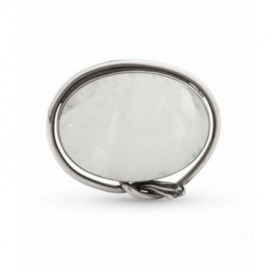 Silver brooch set with rainbow moonstone