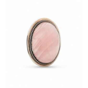 Silver brooch set with Rose quartz