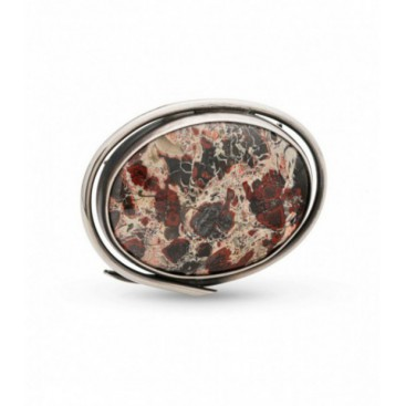 Silver brooch set with silk agate