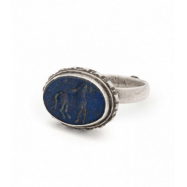 Antique silver stamp ring set with carved lapis lazuli
