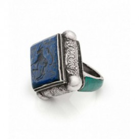 Antique silver stamp ring set with carved lapis lazuli and turquoise
