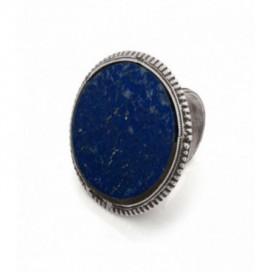 Antique silver ring set with lapis lazuli