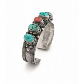 Antique silver bracelet set with turquoises and coral