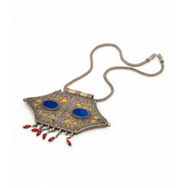 Antique silver gilded pendant set with lapis lazuli, tiny turquoises, cut glass and glass beads