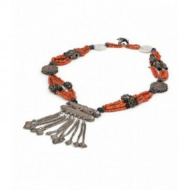 Long antique silver necklace with coral and ivory