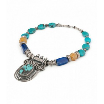 Antique silver necklace set with turquoise, lapis lazuli and amber