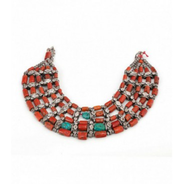 Antique silver necklace set with turquoise and corals