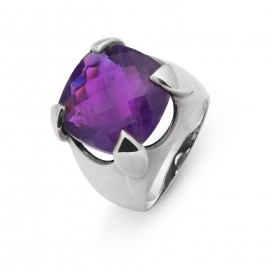 Silver ring set with a briolette cut amethyst
