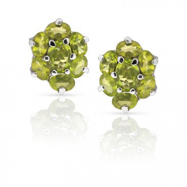 Silver ear tops set with peridot