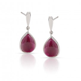 Silver ear hangers with cabochon rubies
