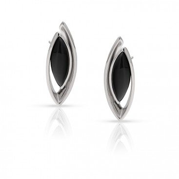 Silver ear tops set with onyx