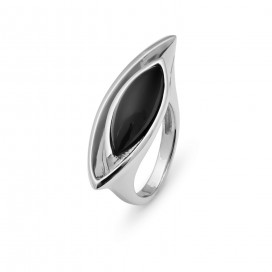 Silver ring set with onyx