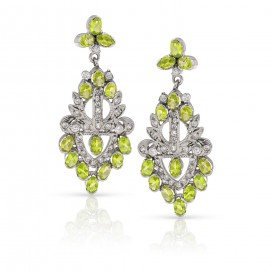 Silver ear hangers set with peridot and crystals