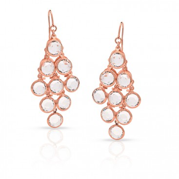 Silver ear hangers (rose gold plated) set with crystals