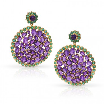 Silver ear hangers set with amethysts and emeralds