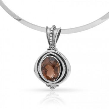 Silver pendant set with smokey topaz
