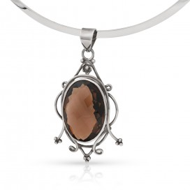 Silver pendant set with smokey topaz