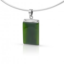 Silver pendant set with nephrite jade