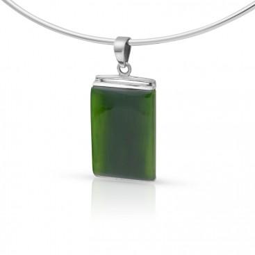 Silver pendant set with nephrite jade