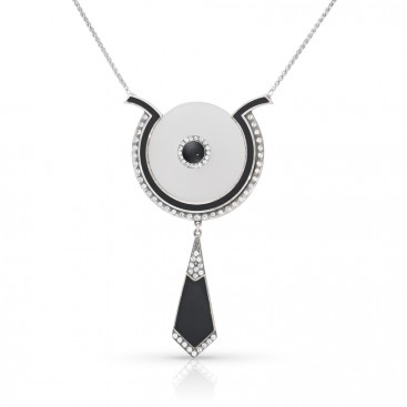 Art Deco (1925) silver necklace and pendant set with crystals, onyx and white stone