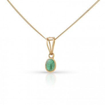 Pendant 18kt Yellow gold set with a cabochon emerald