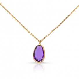 Pendant 14kt Yellow gold set with an amethyst