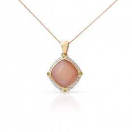Pendant 18kt Yellow gold set with brilliants, pink moonstone and peridots