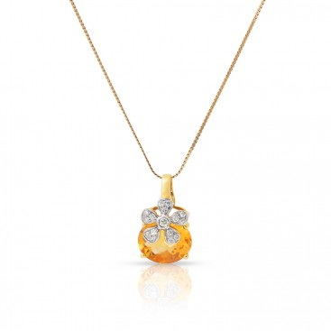 Pendant 18kt Yellow gold set with brilliants and a golden topaz
