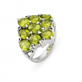 Silver ring set with peridots