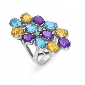 Silver ring set with citrines, amethysts and blue topaz