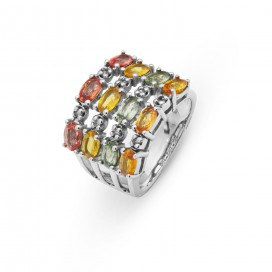 Silver ring set with brilliants and multi colour sapphires